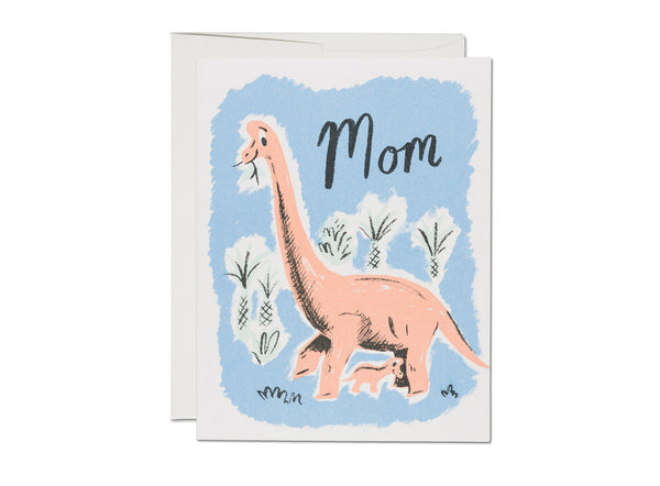Red Cap Cards Pantone Dinosaur Mom Mother's Day Card