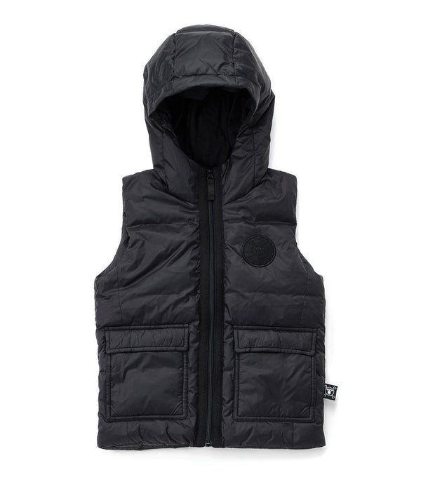 Nununu Cargo Down Vest in Black
