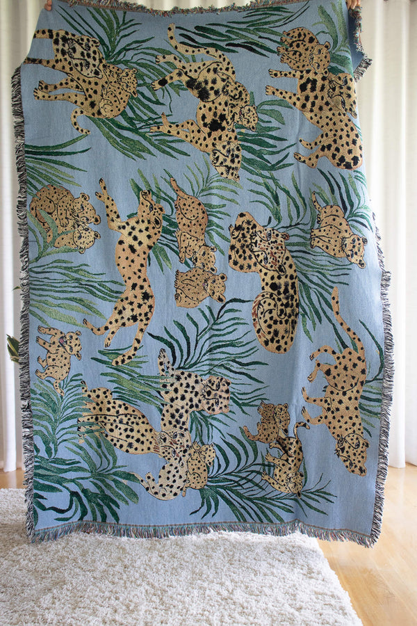 Olivia-Wendel-Textiles-Blue-Cheetah-Blanket-Organic-Cotton-Sustainably-Made-Santa-Barbara-Boutique