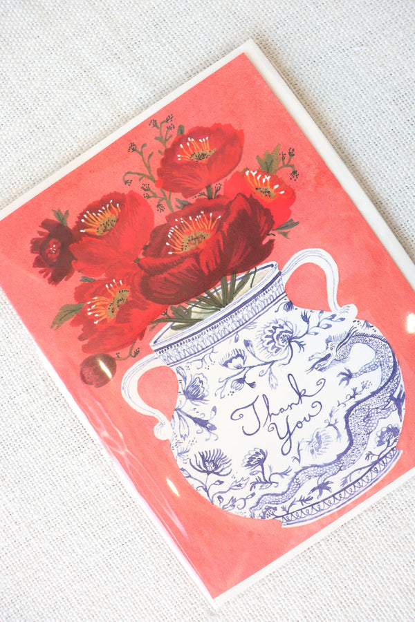 Red Cap Cards Dragon Vases Thank You Card