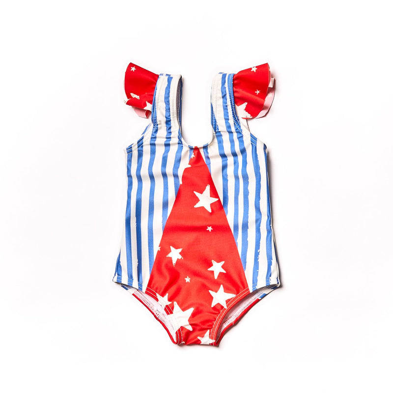 Noe & Zoe Baby Olympic Swim Suit in Blue Stripes