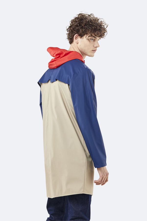 Rains Color Block Long Jacket in Beige/Klein Blue
