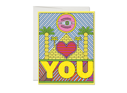 Red Cap Cards Eye Heart You Love Card