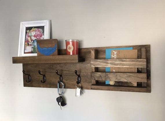 Entryway Mail Organizer | Key Hooks Wall Mounted Coat Rack Catch All Leash Holder Rustic Modern Unique by DistressedMeNot