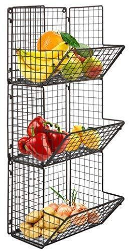 Hanging fruit basket rustic shelves Metal Wire 3 Tier Wall Mounted / over the door organizer Kitchen Fruit Produce Bin Rack Bathroom Towel Baskets fruit stand produce storage rustic decor shabby chic