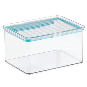 The best mdesign airtight stackable kitchen pantry cabinet or refrigerator food storage containers attached hinged lids compact bins for pantry refrigerator freezer bpa free food safe set of 3 clear