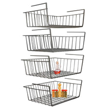 Load image into Gallery viewer, Shop for under shelf basket 4 pack black wire rack slides under shelves for storage space on kitchen pantry desk bookshelf cupboard