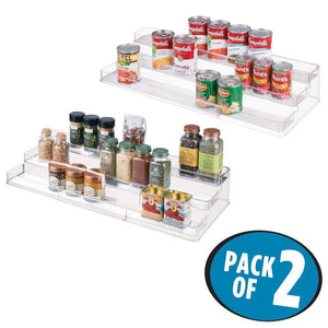 Get mdesign large plastic adjustable expandable kitchen cabinet pantry shelf organizer spice rack with 3 tiered levels of storage for spice bottles jars seasonings baking supplies 2 pack clear