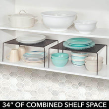 Load image into Gallery viewer, Related mdesign metal kitchen pantry countertop organizer storage shelves raised cabinet shelf racks for food dishes plates dishes bowls mugs glasses non skid feet extra large 2 pack bronze