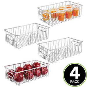 Storage organizer mdesign metal farmhouse kitchen pantry food storage organizer basket bin wire grid design for cabinet cupboard shelf countertop holds potatoes onions fruit large 4 pack chrome