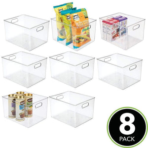 Purchase mdesign plastic storage organizer container bins holders with handles for kitchen pantry cabinet fridge freezer large for organizing snacks produce vegetables pasta food 8 pack clear