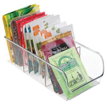 Load image into Gallery viewer, Shop here mdesign plastic food packet kitchen storage organizer bin caddy holds spice pouches dressing mixes hot chocolate tea sugar packets in pantry cabinets or countertop 8 pack clear