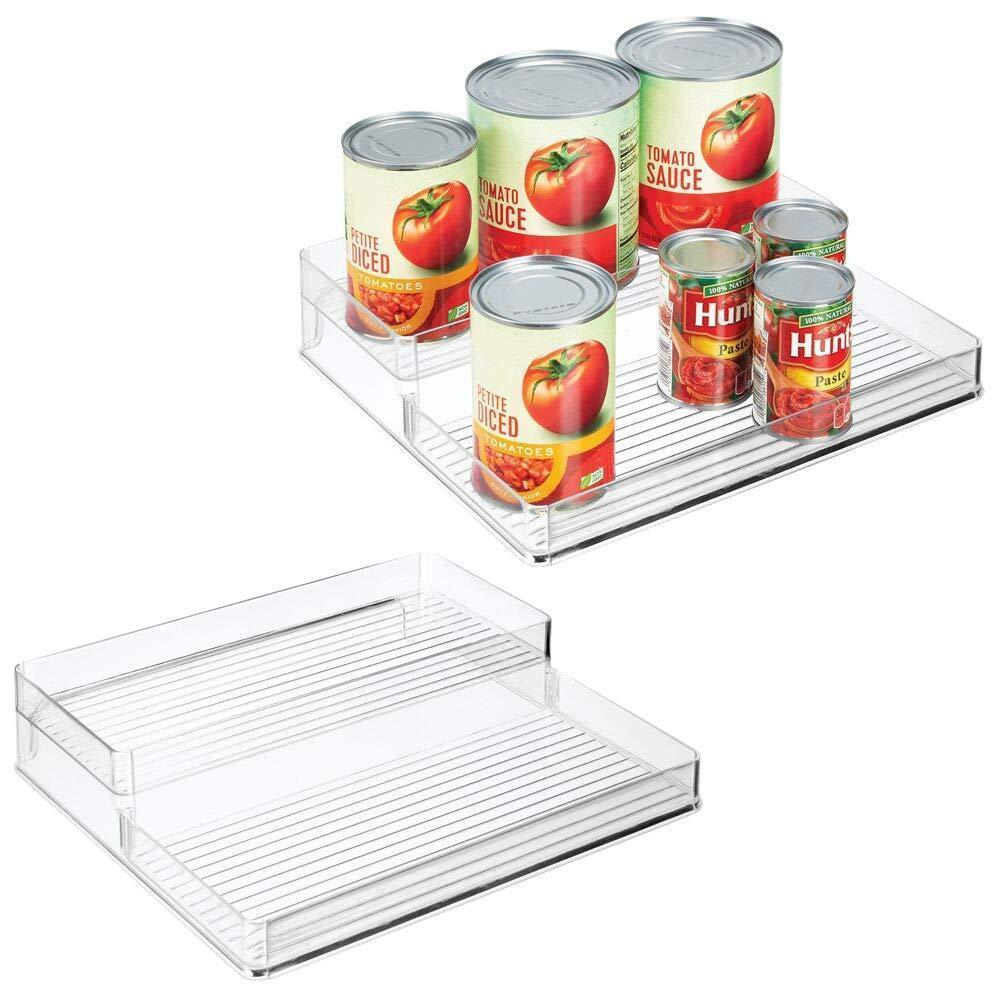 Discover mdesign plastic kitchen canned food storage organizer shelves holder for cabinet countertop pantry holds beans sauces tomato paste vegetables soups 2 levels 12 w 2 pack clear