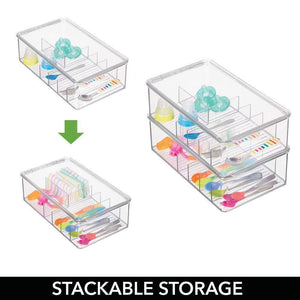 Explore mdesign stackable plastic storage organizer container for kitchen cabinets pantry countertops holds kids child toddler mealtime sets small accessories 6 sections bpa free 4 pack clear