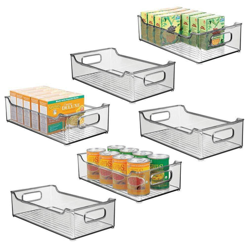 Great mdesign wide stackable plastic kitchen pantry cabinet refrigerator or freezer food storage bin box basket with handles organizer for fruit yogurt snacks pasta 14 5 long 6 pack smoke gray