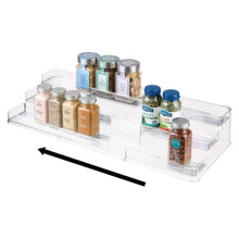 Load image into Gallery viewer, Explore mdesign large plastic adjustable expandable kitchen cabinet pantry shelf organizer spice rack with 3 tiered levels of storage for spice bottles jars seasonings baking supplies 2 pack clear