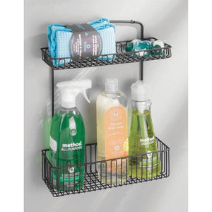 Latest mdesign metal farmhouse wall mount kitchen storage organizer holder or basket hang on wall under sink or cabinet door in kitchen pantry holds dish soap window cleaner sponges matte black