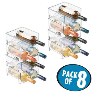 Amazon mdesign plastic free standing wine rack storage organizer for kitchen countertops table top pantry fridge holds wine beer pop soda water bottles stackable 2 bottles each 8 pack clear