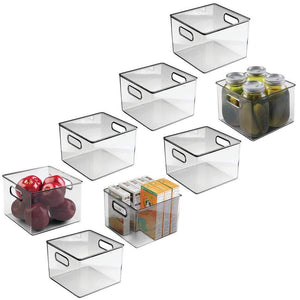 Online shopping mdesign plastic food storage container bin with handles for kitchen pantry cabinet fridge freezer cube organizer for snacks produce vegetables pasta bpa free 8 pack clear