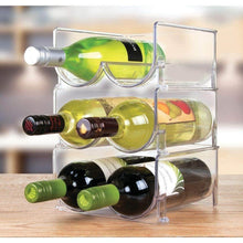 Load image into Gallery viewer, Try mdesign plastic free standing wine rack storage organizer for kitchen countertops table top pantry fridge holds wine beer pop soda water bottles stackable 2 bottles each 8 pack clear