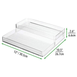 Exclusive mdesign plastic kitchen canned food storage organizer shelves holder for cabinet countertop pantry holds beans sauces tomato paste vegetables soups 2 levels 12 w 2 pack clear