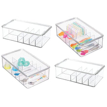 Load image into Gallery viewer, Cheap mdesign stackable plastic storage organizer container for kitchen cabinets pantry countertops holds kids child toddler mealtime sets small accessories 6 sections bpa free 4 pack clear
