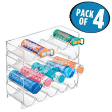 Load image into Gallery viewer, Related mdesign plastic free standing water bottle and wine rack storage organizer for kitchen countertops table top pantry fridge stackable holds 5 bottles each 4 pack clear