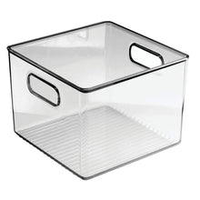 Load image into Gallery viewer, Results mdesign plastic food storage container bin with handles for kitchen pantry cabinet fridge freezer cube organizer for snacks produce vegetables pasta bpa free 8 pack clear