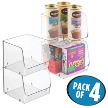 Load image into Gallery viewer, New mdesign large household stackable plastic food storage organizer bin basket with wide open front for kitchen cabinets pantry offices closets bedrooms bathrooms cube 7 75 wide 4 pack clear