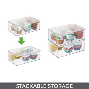 Discover the mdesign stackable kitchen pantry cabinet or refrigerator storage bin with attached hinged lid compact storage organizer for coffee tea and food packets snacks bpa free pack of 2 clear