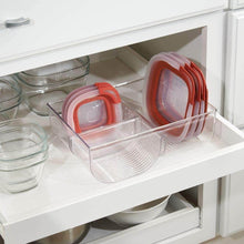 Load image into Gallery viewer, Organize with mdesign food storage container lid holder 3 compartment plastic organizer bin for organization in kitchen cabinets cupboards pantry shelves clear