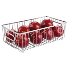 Load image into Gallery viewer, Shop mdesign metal farmhouse kitchen pantry food storage organizer basket bin wire grid design for cabinet cupboard shelf countertop holds potatoes onions fruit large 4 pack chrome