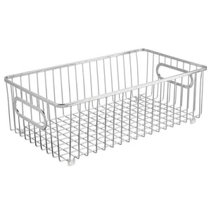 The best mdesign metal farmhouse kitchen pantry food storage organizer basket bin wire grid design for cabinet cupboard shelf countertop holds potatoes onions fruit large 4 pack chrome