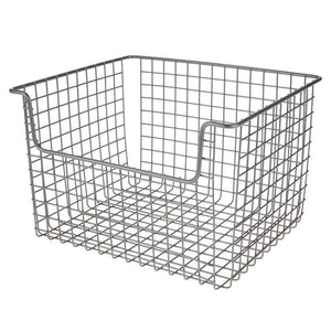 Shop here mdesign metal kitchen pantry food storage organizer basket farmhouse grid design with open front for cabinets cupboards shelves holds potatoes onions fruit 12 wide 8 pack graphite gray