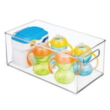 Load image into Gallery viewer, Shop for mdesign deep storage organizer container for kids child supplies in kitchen pantry nursery bedroom playroom holds snacks bottles baby food diapers wipes toys 14 5 long 8 pack clear