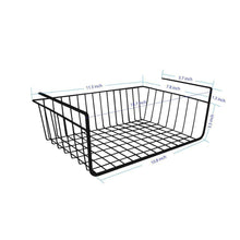 Load image into Gallery viewer, Storage organizer under shelf basket 4 pack black wire rack slides under shelves for storage space on kitchen pantry desk bookshelf cupboard