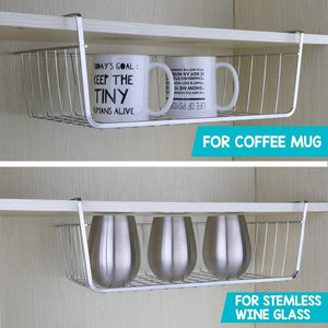 Get 2pcs 15 8 inchunder cabinet storage shelf wire basket organizer for cabinet thickness max 1 2 inch extra storage space on kitchen counter pantry desk bookshelf cupboard anti rust stainless steel rack