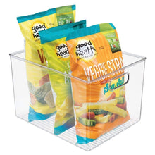 Load image into Gallery viewer, On amazon mdesign plastic storage organizer container bins holders with handles for kitchen pantry cabinet fridge freezer large for organizing snacks produce vegetables pasta food 8 pack clear