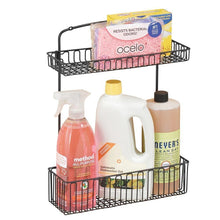 Load image into Gallery viewer, New mdesign metal farmhouse wall mount kitchen storage organizer holder or basket hang on wall under sink or cabinet door in kitchen pantry holds dish soap window cleaner sponges matte black