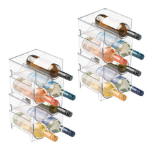 Load image into Gallery viewer, Storage organizer mdesign plastic free standing wine rack storage organizer for kitchen countertops table top pantry fridge holds wine beer pop soda water bottles stackable 2 bottles each 8 pack clear