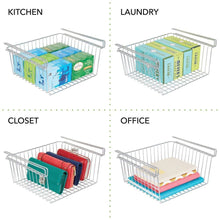 Load image into Gallery viewer, Shop mdesign household metal under shelf hanging storage organizer bin basket for organizing kitchen pantry cabinets cupboards shelves vintage modern farmhouse grid style large 2 pack chrome