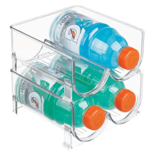 Load image into Gallery viewer, Great mdesign plastic freestanding water bottle storage organizer for kitchen countertop table pantry fridge holds water bottles pop soda wine beer stackable 2 bottles each 8 pack clear