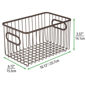 Best seller  mdesign metal farmhouse kitchen pantry food storage organizer basket bin wire grid design for cabinets cupboards shelves countertops closets bedroom bathroom 10 long 4 pack bronze