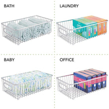 Load image into Gallery viewer, Shop here mdesign metal farmhouse kitchen pantry food storage organizer basket bin wire grid design for cabinet cupboard shelf countertop holds potatoes onions fruit large 4 pack chrome