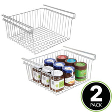 Load image into Gallery viewer, Shop here mdesign household metal under shelf hanging storage organizer bin basket for organizing kitchen pantry cabinets cupboards shelves vintage modern farmhouse grid style large 2 pack chrome