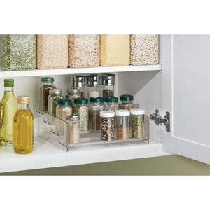 Save on mdesign plastic kitchen spice bottle rack holder food storage organizer for cabinet cupboard pantry shelf holds spices mason jars baking supplies canned food 4 levels 4 pack clear