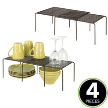 Load image into Gallery viewer, Featured mdesign adjustable metal kitchen cabinet pantry countertop organizer storage shelves expandable 4 piece set durable steel non skid feet bronze