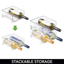 Load image into Gallery viewer, Top rated mdesign plastic free standing wine rack storage organizer for kitchen countertops table top pantry fridge holds wine beer pop soda water bottles stackable 2 bottles each 8 pack clear