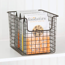 Load image into Gallery viewer, Kitchen mdesign household metal kitchen pantry food storage organizer basket bin farmhouse grid design or cabinets cupboards shelves holds potatoes onions fruit 8 wide 8 pack bronze