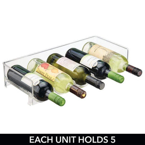 Organize with mdesign plastic free standing water bottle and wine rack storage organizer for kitchen countertops table top pantry fridge stackable holds 5 bottles each 4 pack clear